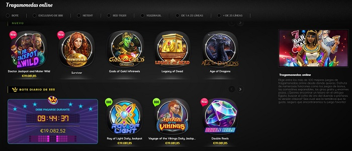 Tragamonedas de 888 Casino