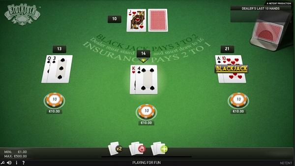Blackjack de NetEnt para Casinos Online