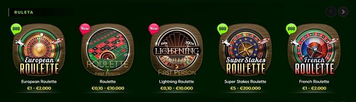 Ruletas en línea de 888 Casino