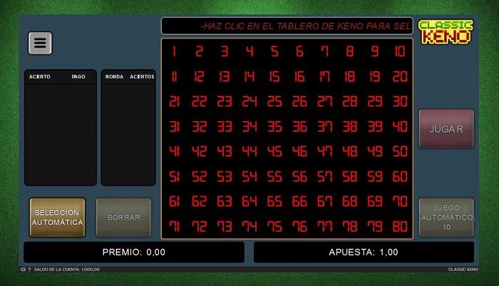 Juego de Keno Online de 888 Casino