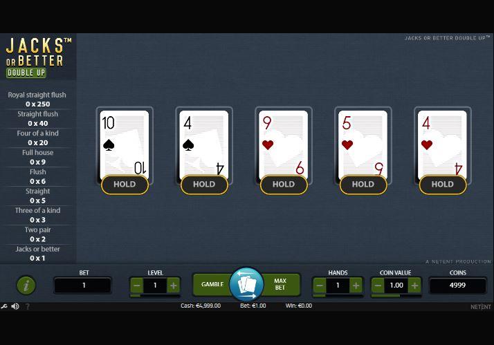 Video Poker Online NetEnt