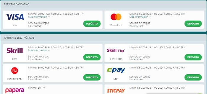 22bet métodos de pago