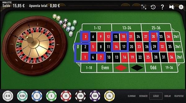 Apuestas números del tapete de ruleta online